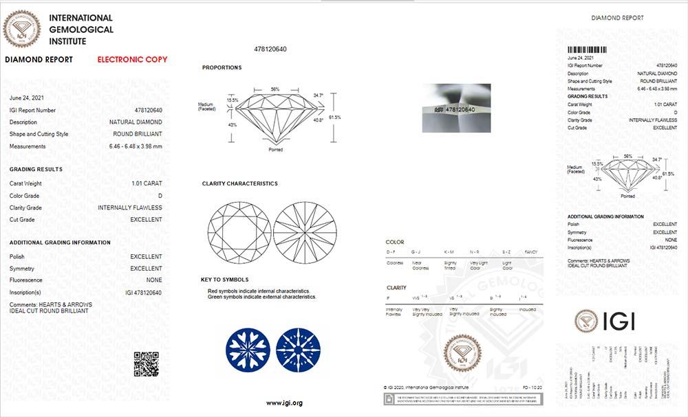 IGI-Zertifikat 478120640 Diamant-Brillant 1,01 Karat D IF 3x Exzellent none Hearts and Arrows Ideal Cut